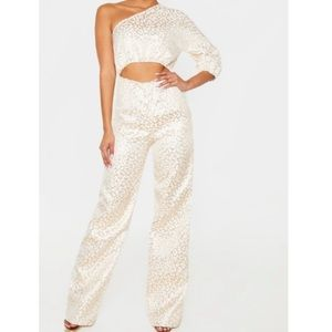 NWT Pretty Little Thing Rosegold Leopard Jumpsuit